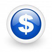 dollar blue glossy icon on white background