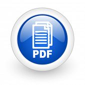 pdf blue glossy icon on white background,