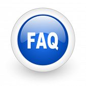 faq blue glossy icon on white background