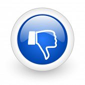 dislike blue glossy icon on white background