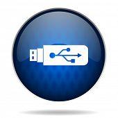 usb internet blue icon