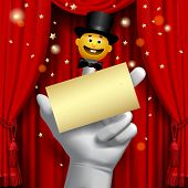 Theater poster with a human hand with a yellow smiled puppet head in a black top hat on the red curt