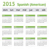 2015 Spanish American Calendar. Week starts on Sunday