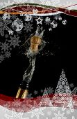 Composite image of christmas frame against champagne cork popping