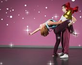 Cool break dancing couple dancing together against golden bell with red ribbon