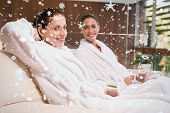 Smiling women in bathrobes sitting on couch against snow