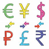 Hand drawing set of currency symbols.