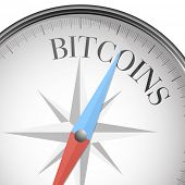 detailed illustration of a compass with bitcoins text, eps10 vector