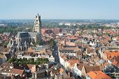 View to the red roofs and beautiful St. Salvator's Cathedral in Bruges, Belgium
