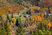 Aerial view of autumn landscape in Colorado