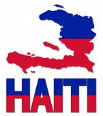 Haiti map flag and text vector illustration