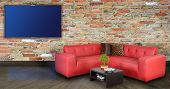 picture of futon  - Living room with tv on wall - JPG