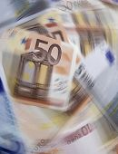 Spin effect added to twenty and fifty Euro banknotes