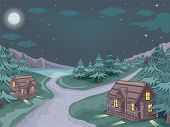 Illustration Featuring Log Cabins with the Starry Sky As Its Backdrop