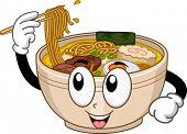 Mascot Illustration Featuring a Bowl of Ramen