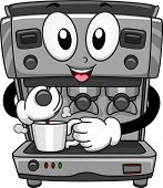 Mascot Illustration Featuring a Coffee Machine Dispensing Coffee