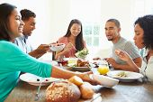 Group Of Friends Enjoying Meal At Home Together