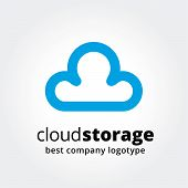Abstract vector cloud storage logotype concept isolated on white background. Key ideas is business,