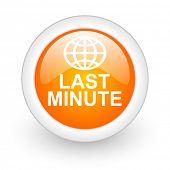 last minute orange glossy web icon on white background