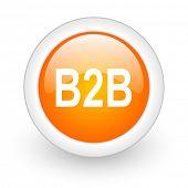 b2b orange glossy web icon on white background