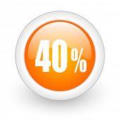 40 percent orange glossy web icon on white background