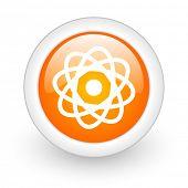 atom orange glossy web icon on white background