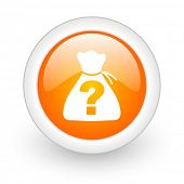 riddle orange glossy web icon on white background