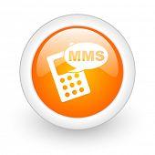 mms orange glossy web icon on white background