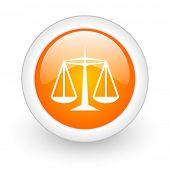 justice orange glossy web icon on white background