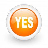 yes orange glossy web icon on white background