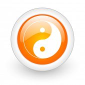 ying yang orange glossy web icon on white background