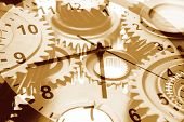 Gears and hands of clock
