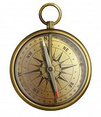 old brass compass, realistic illustration isolated on white