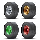 Set of sports car colorful wheels.