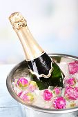 Frozen rose flowers in ice cubes and champagne bottle in bucket, on light background