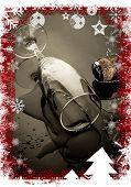 Christmas themed frame against knocked over champagne flute beside cork