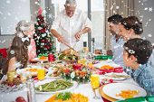 Extended family at dining table for christmas dinner against snow