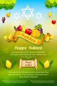 picture of sukkot  - illustration of fruits hanging for Jewish festival Happy Sukkot - JPG