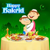 illustration of people hugging and wishing Happy Bakrid