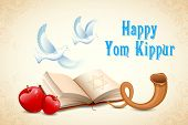 image of sukkot  - illustration of Happy Yom Kippur background for Israel festival - JPG