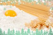 Composite image of snow and fir trees against preparation of the meal