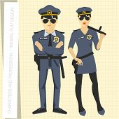 Police officers in flat modern style. Vector illustration.