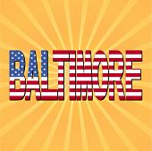 Baltimore flag text with sunburst vector illustration