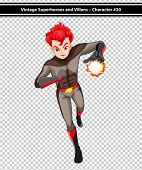 Illustration of a male superhero with fireball
