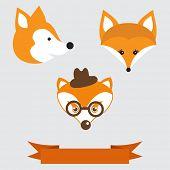 Different fox-faces set. Vintage vector illustration