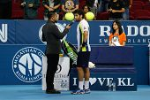 SEPTEMBER 23, 2014 - KUALA LUMPUR, MALAYSIA: Pablo Andujar answers questions after winning his first round match at the Malaysian Open Tennis 2014 event. This is an ATP sanctioned tournament.