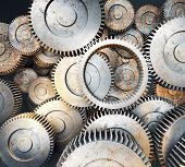 Background of 3d metal gears and cogwheels