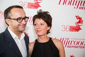 MOSCOW - JUNE, 25: Film Director Andrey Zvyagintsev (Film Leviathan) with wife. White party Hollywood Reporter Magazine at River Restorant, June 25, 2014 in Moscow, Russia