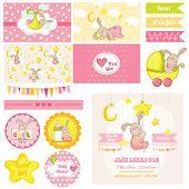 Scrapbook Design Elements - Baby Shower Bunny Theme - in vector
