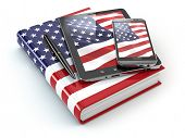 American english learning. Mobile devices, smartphone, tablet pc and book . 3d